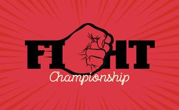 Fight championship logo with hand fist Stock Photography