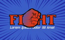 Fight championship logo with hand fist Stock Images