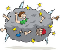 Fight cloud. Cartoon of people fighting in a cloud Stock Images
