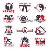 Fight club bages vector set. Set of vintage boxing emblems, labels, badges, logos and designed fight club logo elements. Fight club logo style sport boxing Stock Images