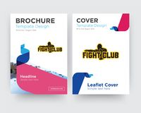 Fight club brochure flyer design template. With abstract photo background, minimalist trend business corporate roll up or annual report Stock Photo