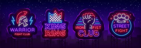 Fight Club collection neon signs. Set logo in neon style. Design template. King of the Ring, Warrior, Iron Fist, Street. Fight MMA. Light banner, bright night Stock Photo