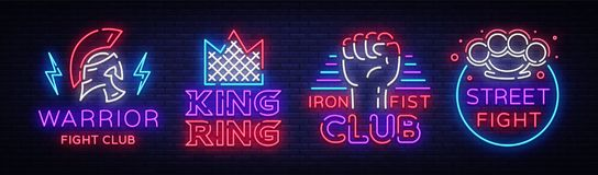 Fight Club collection neon signs. Set logo in neon style. Design template. King of the Ring, Warrior, Iron Fist, Street. Fight MMA. Light banner, bright night Royalty Free Stock Image