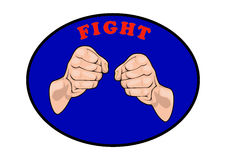 Fight club emblem. In the blue box Stock Image
