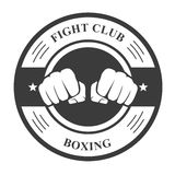 Fight club emblem with fists - boxing club badge. Fight club emblem with two fists - boxing club badge Stock Photo