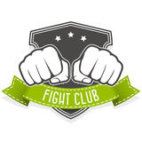 Fight club emblem with two fists. And banner Stock Images