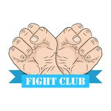 Fight club emblem. Vector illustration. Fight club emblem with two fists and ribbon in flat design. Vector illustration. Fight club logo on white background Royalty Free Stock Photography