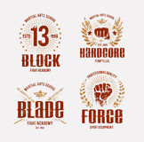 Fight Club Emblems. Fight club logo templates. Grunge prints. Martial arts emblems. Vector arts Royalty Free Stock Images
