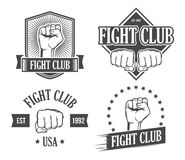 Fight club emblems. Set off ight club vintage emblems Royalty Free Stock Photos
