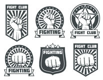 Fight club with fist vintage labels, logos, emblems vector set. Boxing sport, kickboxing logotype illustration Royalty Free Stock Images