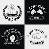 Fight Club graphics for t-shirt set. New York city, MMA, Mixed Martial Arts. Fighting typography for design clothes, logo, apparel. Sport print with fist Stock Photography