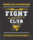 FIGHT CLUB. Hand crafted typeface design. FIGHT CLUB. Hand crafted retro vintage typeface design. Original handmade lettering type alphabet. Authentic Stock Images