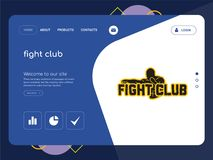 Fight club Landing page website template design. Quality One Page fight club Website Template Vector Eps, Modern Web Design with flat UI elements and landscape Royalty Free Stock Photography