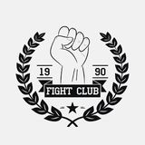 Fight Club logo. Fighting typography for design clothes,. T-shirts, apparel. Sport print with fist, wreath, star and ribbon. Vector illustration Stock Photography