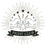 Fight club logo. Hipster style. Print for design clothes, t-shirt. Fight club logo. Hipster style. Print for design clothes, t-shirt stamp with sunray Stock Photo