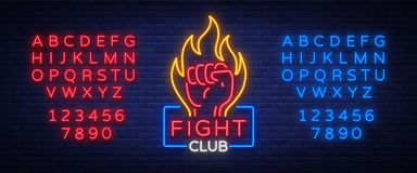 Fight club logo neon sign isolated vector illustration. Neon banner, night glowing emblem advertisement. Editing text. Neon sign Royalty Free Stock Photos