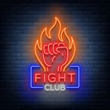 Fight club logo neon sign  vector illustration. Neon banner, night glowing emblem advertisement.  Royalty Free Stock Photos