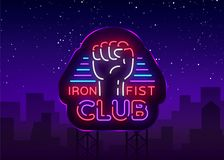 Fight Club Logo in Neon Style. Iron fist club is a neon sign. Sports neon sign on night fighting, mixed fighting, MMA. Combat training. Light banner, night Royalty Free Stock Photo