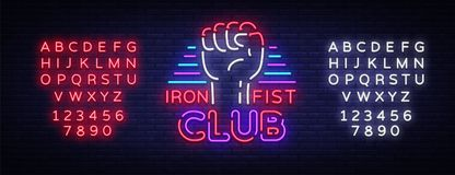 Fight Club Logo in Neon Style. Iron fist club is a neon sign. Sports neon sign on night fighting, mixed fighting, MMA. Light banner, night bright advertising Royalty Free Stock Photos