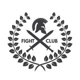 Fight club logo. Roman or Greek helmet Royalty Free Stock Photo