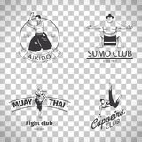 Fight club logos on transparent background. Fight club logo or MMA emblem set. Capoeira and sumo, aikido and thai boxing logos isolated on transparent background Stock Images