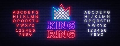 Fight Club neon sign. King RING logo in neon style. Design template, sports logo. Night fighting, martial arts, MMA. Light banner, bright night neon Royalty Free Stock Photos