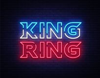 Fight Club neon sign vector. King of the Ring neon symbol logo, design element on night battles, light banner, night. Neon advertisement Stock Image