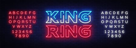 Fight Club neon sign vector. King of the Ring neon symbol logo, design element on night battles, light banner, night. Neon advertisement. Editing text neon sign Stock Photos