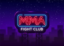 Fight Club neon sign vector. MMA neon symbol logo, design element on night battles, light banner, night neon. Advertisement. Billboard Stock Photography