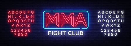 Fight Club neon sign vector. MMA neon symbol logo, design element on night battles, light banner, night neon. Advertisement. Editing text neon sign Stock Photo