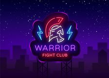 Fight Club neon sign. Warrior logo in neon style. Design template, sports logo, Spartan warrior. Night Fight, Martial. Arts, MMA. Light banner, bright night Royalty Free Stock Photography