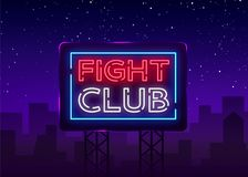Fight club neon signboard. Bright night advertising, light banner, design neon sign template. Vector illustration. Billboard Royalty Free Stock Photo