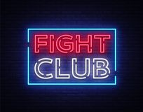 Fight club neon signboard. Bright night advertising, light banner, design neon sign template. Vector illustration.  Stock Photo