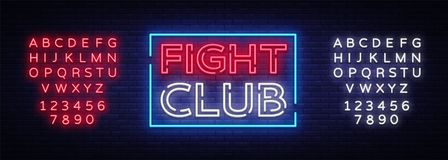 Fight club neon signboard. Bright night advertising, light banner, design neon sign template. Vector illustration. Editing text neon sign Royalty Free Stock Images