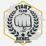 Fight club sign, Fist with laurel wreath hand silhouette. vector. Fight club sign, Fist with laurel wreath, hand silhouette, boxing emblem in vintage style. MMA Stock Photography