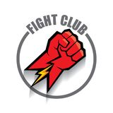 Fight club vector logo with red man fist isolated on white background. MMA Mixed martial arts design template. Fight club vector logo with red man fist isolated Stock Photo