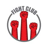 Fight club vector logo with red man fist isolated on white background. MMA Mixed martial arts design template. Fight club vector logo with red man fist isolated Stock Photos