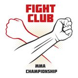 Fight club vector poster with strong hand emblem. MMA fighting background. Mma battle club, martial mixed art illustration Stock Photo