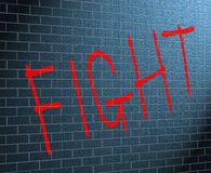 Fight concept. Illustration depicting graffiti on a brick wall with a fight concept Royalty Free Stock Photo