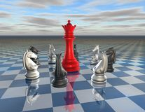 Fight, conflict, leader and team concept with chess figurines. Fight, conflict, leader and team concept with chess figures and red queen Stock Photo