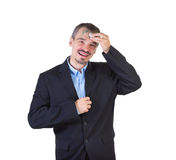 Fight consumerism. Men erasing barcode from the forehead isolated on white background Stock Image