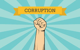 Fight for corruption illustration with single hand show fighting against it. Vector Royalty Free Stock Images