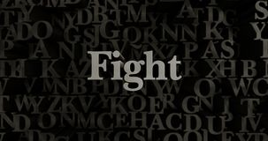 Fight - 3D rendered metallic typeset headline illustration. Can be used for an online banner ad or a print postcard Royalty Free Stock Photos