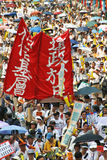 Fight for democracy. 1 July 2004 Hong Kong March. royalty free stock images