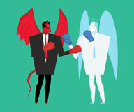 Fight devil and angel. Satan and god is boxing. Archangel and demon fighting Royalty Free Stock Photos