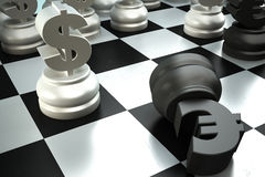 A fight between dollar end euro chess pieces Royalty Free Stock Image