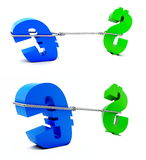 Fight of euro and dollar. On a white background Stock Images