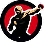 Fight figure boxing man. sport icon. Fighter silhouette martial arts icon. champion symbol illustration Stock Photography