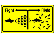 Fight or Flight Concept. Business metaphor for team building and joint struggle in hard times instead of giving up one by one Stock Photography