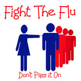 Fight the flu. People in line for flu shot illustration red blue Royalty Free Stock Images